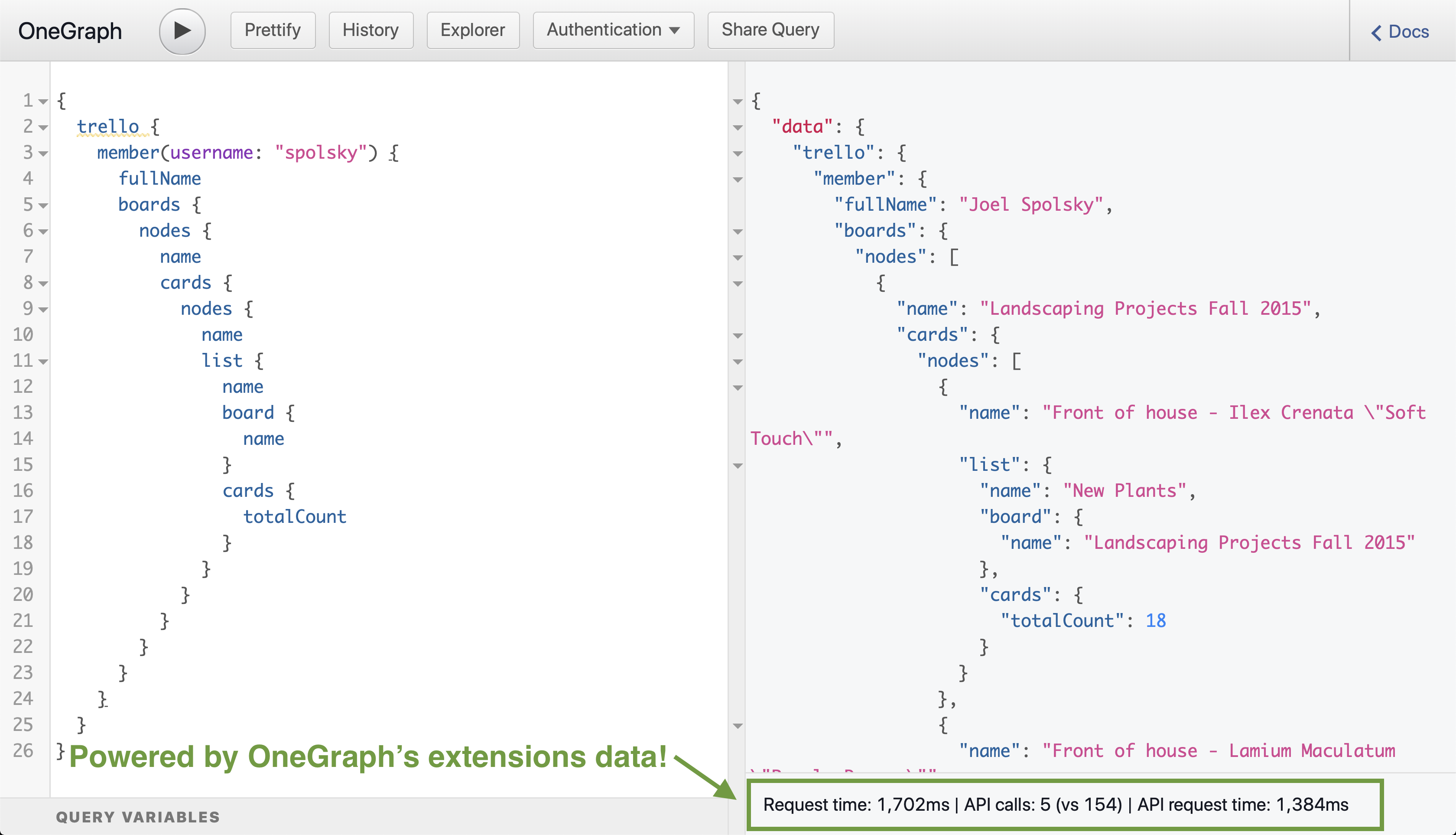 OneGraph extensions-powered metrics reporting