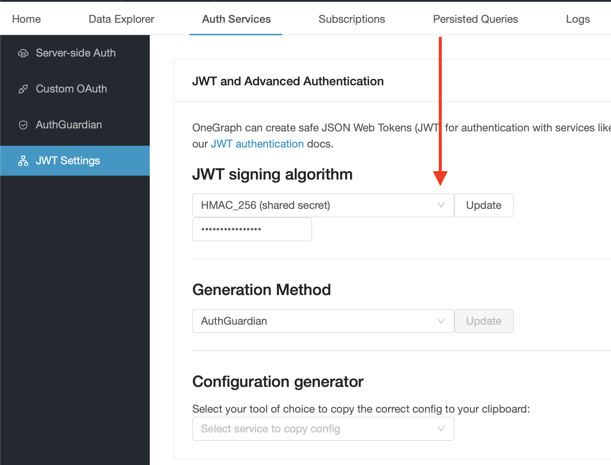 Set the shared JWT secret on your OneGraph app